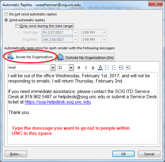 Setting Up Email Automatic Replies (Out of Office Message