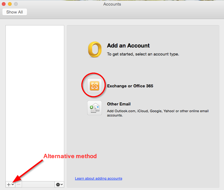 how to add outlook exchange account to mac mail